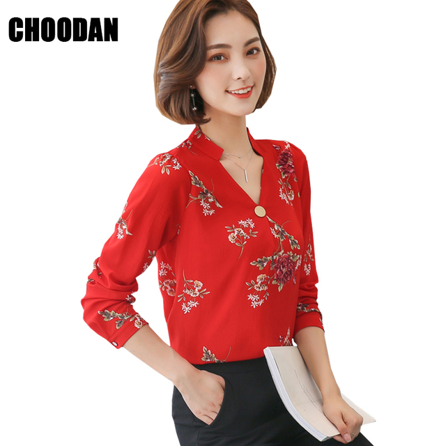 6dff61096bf Women Blouses And Shirts 2018 New Spring Summer Korean Fashion Chiffon  Blouse Female Long Sleeve Flower Print Office Ladies Tops