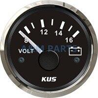 KUS Marine Voltmeter Gauge Waterproof Boat Car Truck RV Battery Volt Meter Steel Bezel 8 16V 52mm