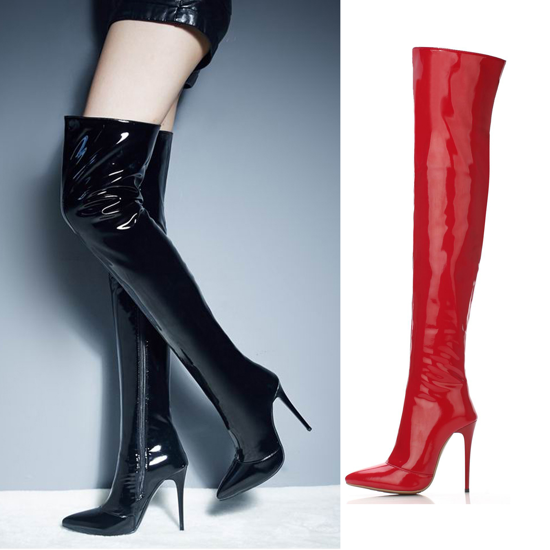 Bout pointu souple brevet PU 12 CM Ultra stiletto talon haut sur le genou bottes à longues bretelles rouge Sexy femmes parti scène bottes