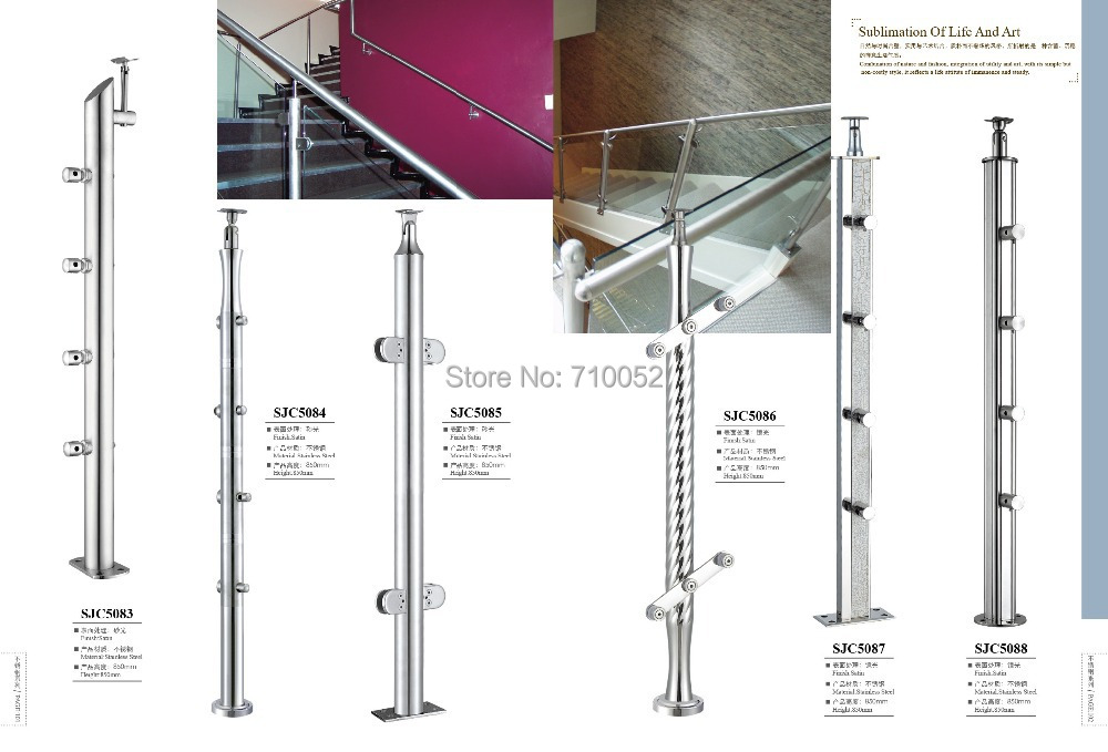 ФОТО freeshipping SJC5087 stair armrest 304 stainless steel guardrail railing brushed solid small cross-bars steel wire