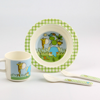 Hot Sale Melamine Baby Tableware Children Cartoon Creative Baby Sucker Bowl Baby Food Supplement Bowl Spoon