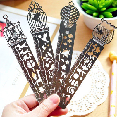 Jonvon Satone 4 Pcs Hollow Metal Bookmark With Scale And Ruler Creative Multi-function Fine Drawing Icon Model Ruler Stationary