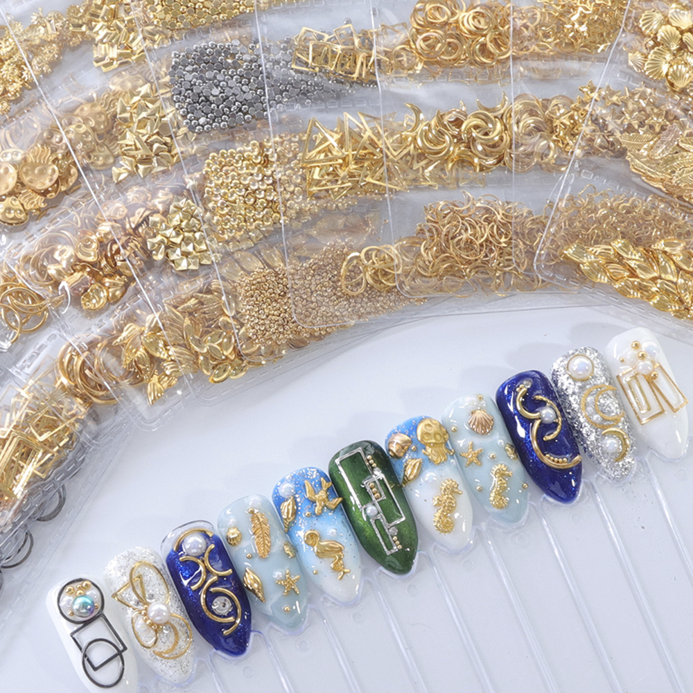 1 Pack Mixed 3D DIY Hollow Metal Frame Nail Art Decorations Gold Rivet Manicure Accessories DIY Shell Slider Nail Studs CH698 10
