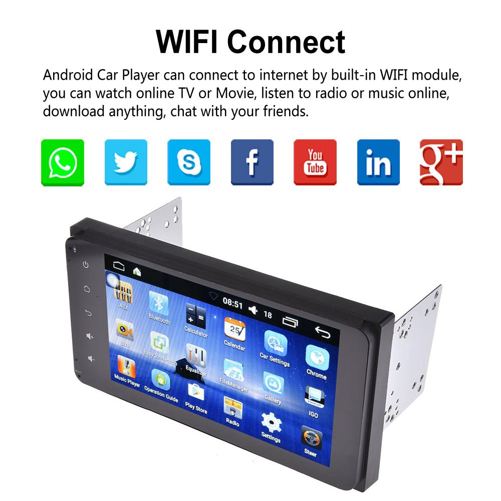 7 Inch 2DIN Bluetooth WIFI Navigator Radio MP5 Audio Player GPS Reversing Camera RDS Quad-core Android 6.0 For Toyota EU Map