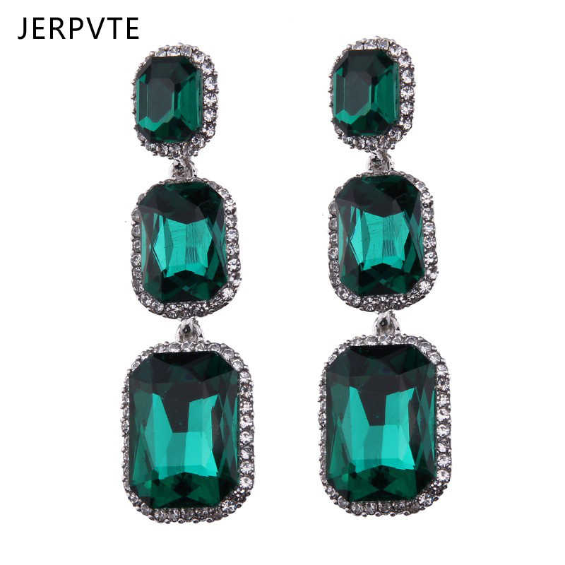 Boho Ethnic Green Crystal Long Drop Earrings Women Brand Fashion Jewelry CZ Glass Rhinestone Women's Dangling Earrings Femme