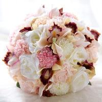Silk Wedding Bouquet Wedding Flowers Keepsake Bouquet Bridal Bouquet Coral Rose and pink hydrangea Bride Holding Flowers
