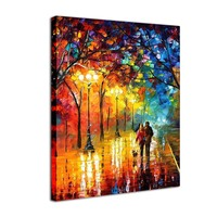 Landscape Oil Painting Print on Canvas Lover Rain Stree Tree Lamp Frame Abstract Scenery Wall Paintings Decor Pictures for Home