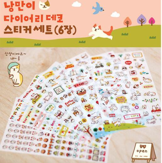 6sheets/lpack DIY Cute Cartoon Cat Paper Sticker for Scrapbooking Diary Kids Children office school supplies GT166