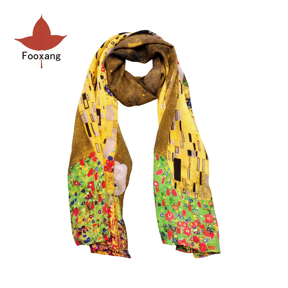 "Fooxang Fashion Women's Oblong Scarf 100% Crepe De Chine Silk Oil Painting Arts Wraps & Scarves Klimt's Works ""The Kiss"""