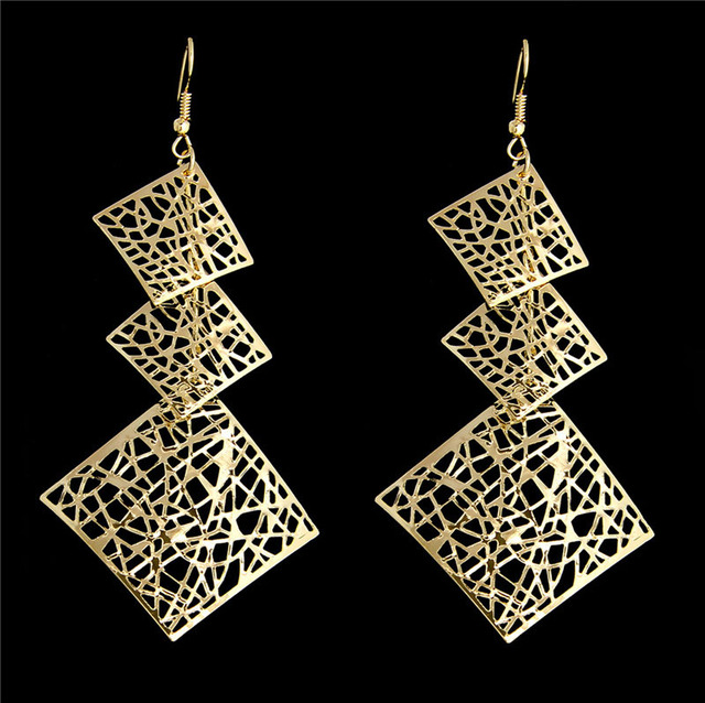 H:HYDE Charming design Bohemia Vintage Ethnic Gold Color Square pendant shape da
