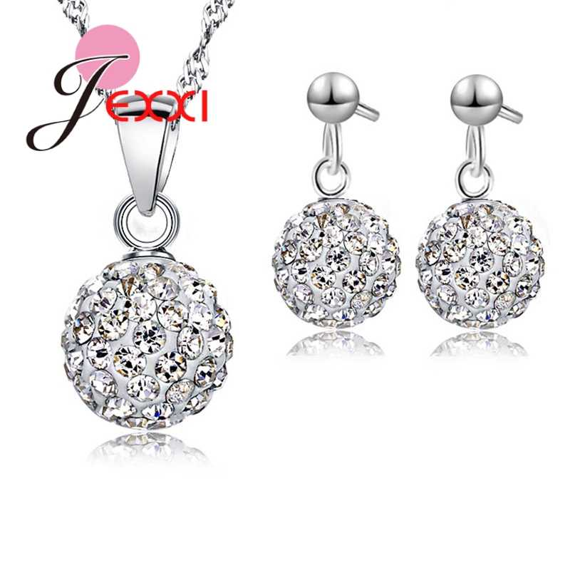 Austrian Pave Disco Ball Stud 925 Sterling Silver Color Earring Pendant Necklace Austria Crystal Woman Jewelry Sets New Gift