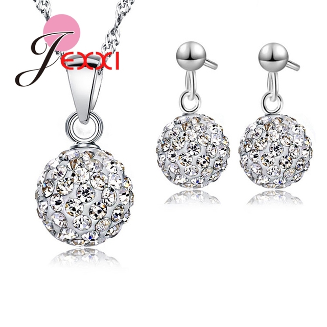 JEXXI Austrian Pave Disco Ball Stud 925 Sterling Silver Earring Pendant Necklace