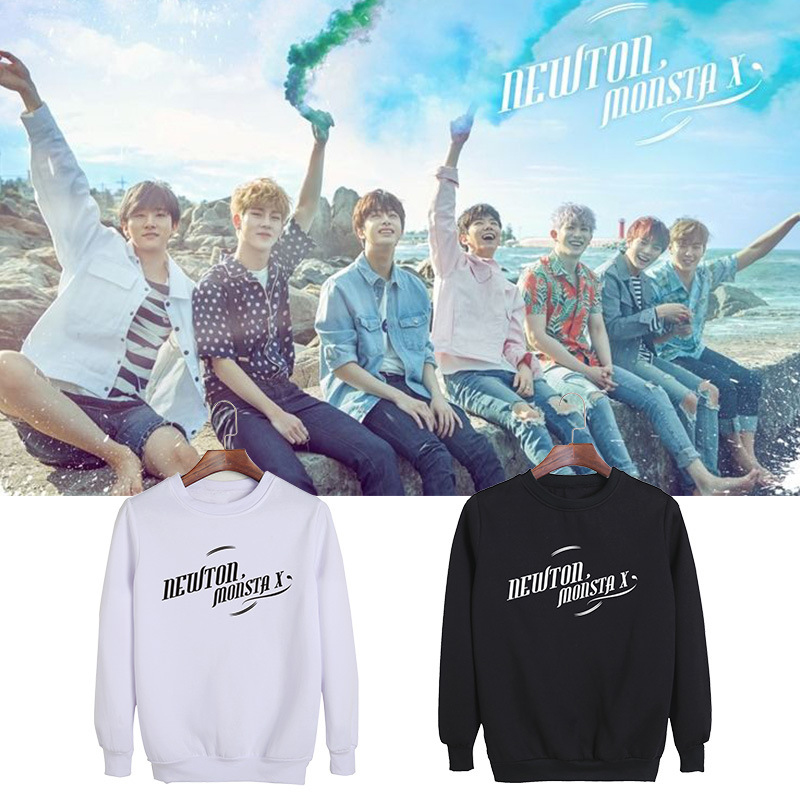 MONSTA X With The Round Neck Sweater Loose Men And Women Long Sleeve Plus Velvet Spring And Autumn Dropshipping