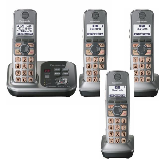 4 Teléfonos KX-TG7731 teléfono Digital DECT 6.0 Enlace para Celular a través de Bluetooth teléfono Inalámbrico con contestador automático