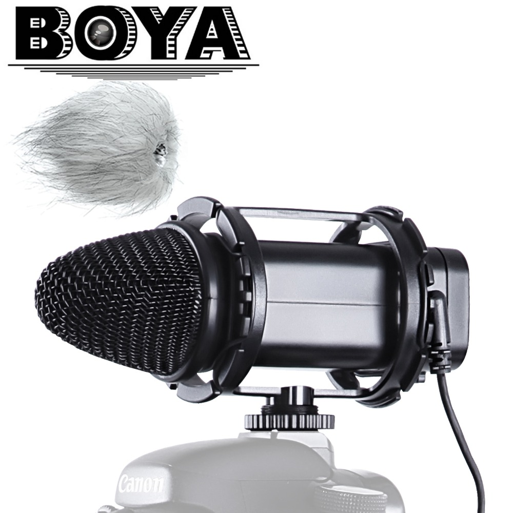 BOYA BY-V02 Stereo Compact Condenser Microphone for Canon Nikon Sony DSLR Cameras, Camcorder, Audio recorders  boya by wm5 lavalier clip on mic audio studio recorder wireless microphone microfone for canon sony gopro dslr camera camcorder
