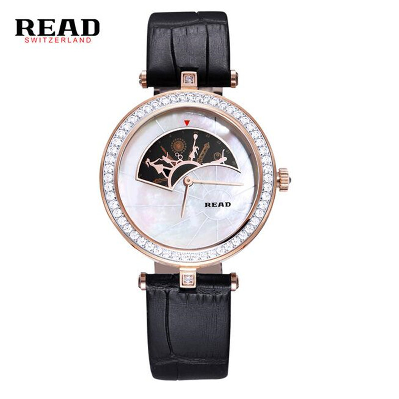 READ Quartz Watches New Fashion Wrist White Strap Leather Watch Women Rose Gold Little Girl And Mother Dance Pattern 6062 C90