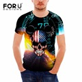 FORUDESIGNS Brand Slim T Shirt Men's T-shirts Hip Hop 3D Skull Printed Men Casual Short Sleeved Shirts Bodybuilding Crossfit Top
