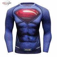 Compression Shirt Batman VS Superman 3D Printed T-Shirts Men's Long Sleeve Cosplay Costume Fit Apparel Fitness Tops Male