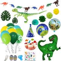 90 sztuk dżungli strona dekoracji dinozaur balony urodzinowe folia dinozaur balon Safari Rex dinozaur tatuaż baner urodzinowy w Balony i akcesoria od Dom i ogród na