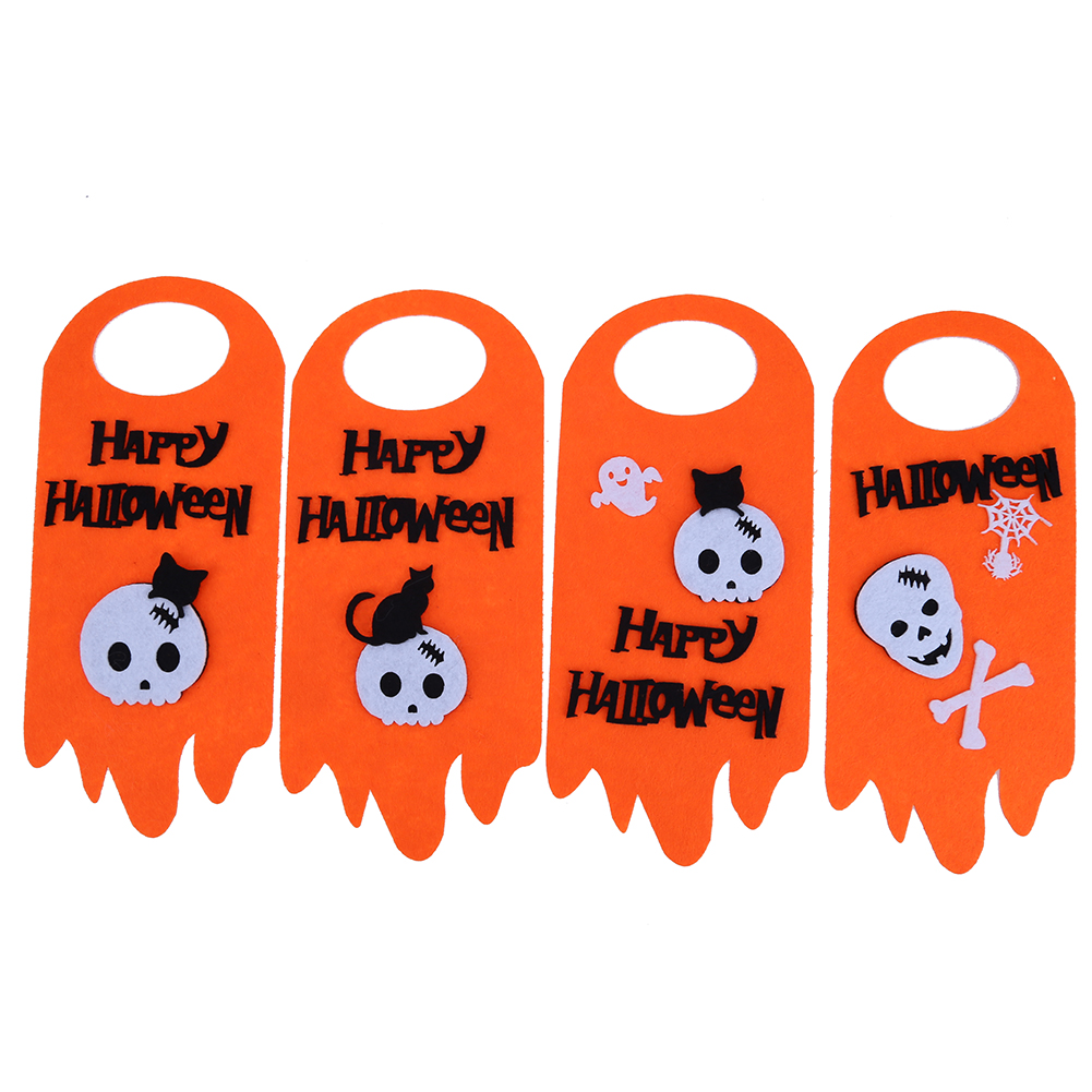 4pcs felt fabric banners skull halloween decoration tags door window hanging banners for festival halloween party