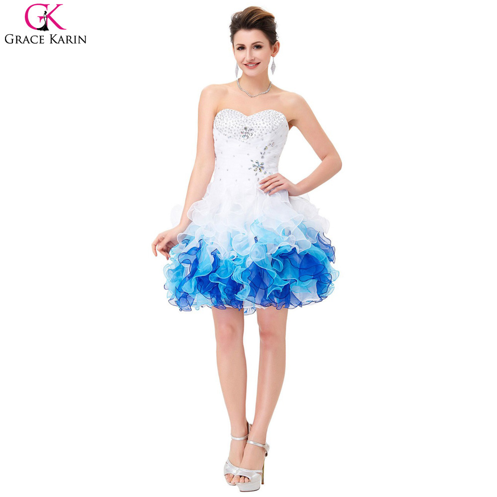 Grace KarinShort Prom Dresses 2017 Robe De Soiree Organza Blue Ombre Ball Gown Cheap Formal Party Dress Tutu Puffy Prom Dresses