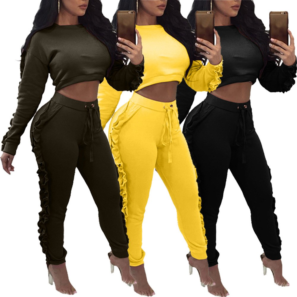 New Fashion Two Piece Sets Tracksuit Ruffles Long Sleeve Pollover Long Legging Pants Suits Sweatsuits for Women Casual Outfits