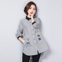 XL 5XL Plus Size Women Striped Shirts 2019 Spring Autumn Blouses Cartoon Cat Embroidery Long Sleeve Loose Casual Tops Blusas