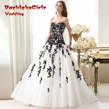 Don's Robe De Mariage Elegant White and Black Wedding Dresses 2017 Appliqued Sweetheart Bridal Gowns Tulle Custom Made