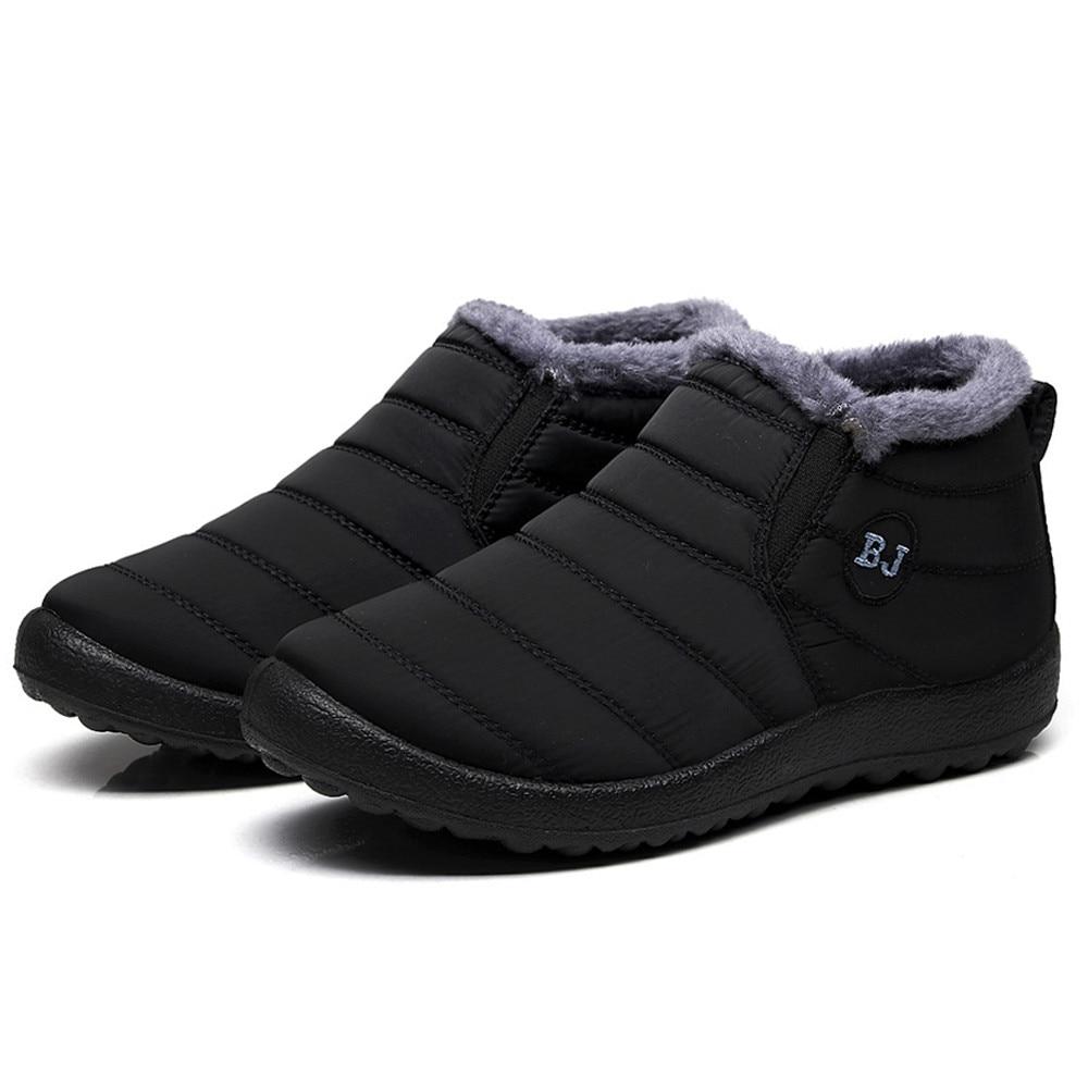SAGACE 2019 Waterproof Women Winter Shoes Couple Snow Boots Warm Fur Inside Antiskid Bottom Keep Warm Mother Casual Boots    #35