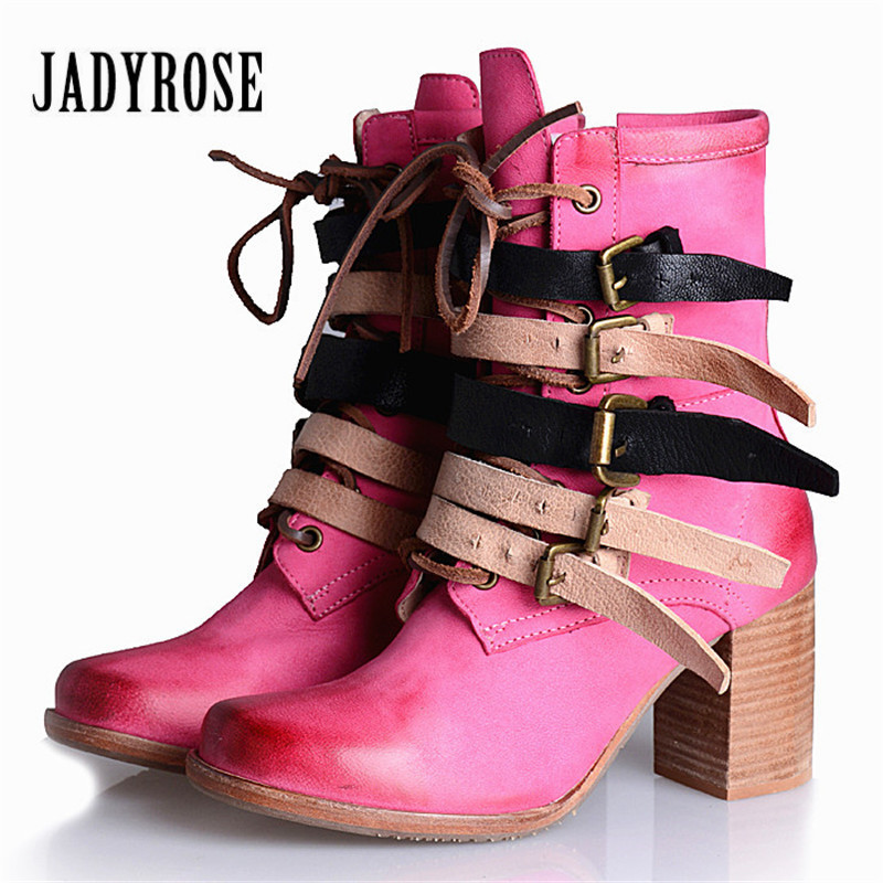 Jady Rose Punk Style Pink Women Genuine Leather Ankle Boots Autumn Straps High Heel Botas Militares Platform Shoes Woman new fashion black purple women genuine leather ankle boots chain decor punk style motorcycle booties flat botas militares