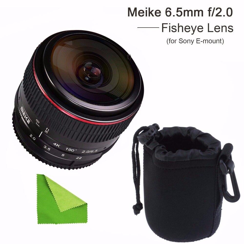 MEIKE MK-6.5mm F2.0 E-Mount Fisheye Lens Works For Sony NEX-5N NEX-7 NEX-3N NEX-5T A3000 A7 A7R With EACHSHOT Lens Pouch