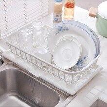 ANHO кухонная раковина Подставка-сушилка для посуды, миска для сушки, корзина для хранения, пластиковая корзина для мытья фруктов, поднос для дома, белый цвет