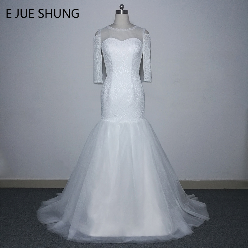 E JUE SHUNG White Lace Off the Shoulder Mermaid Wedding Dresses 2018 Lace Up Back 3/4 Sleeves Cheap Beach Wedding Gowns