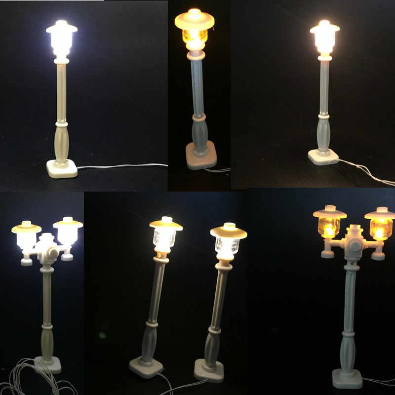 Światła uliczne LED słup latarni do Lego i Building Block Led miasto serii Model wysokiej jakości