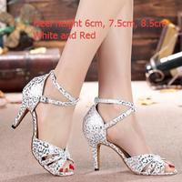 Ladies Popular White Silver Standard Ballroom Dancing Shoes High Heels Summer Sandals For Women S Tango