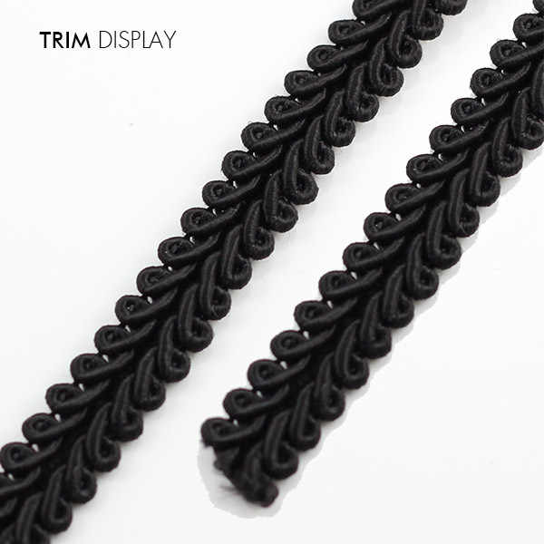 50yards 6mm Black Lace Trim Braided Gimp Trimming Clothing Embellishment Lace Ribbon Trim Sew on Applique Sewing Accessories T1292