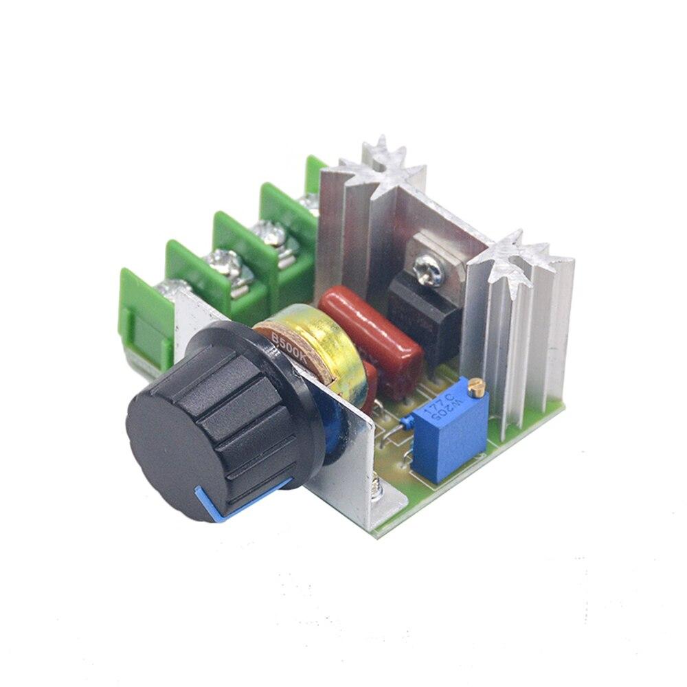 Regulador de voltaje AC 220V 2000W SCR, regulador de atenuación, regulador de velocidad del Motor, módulo regulador de voltaje electrónico con termostato