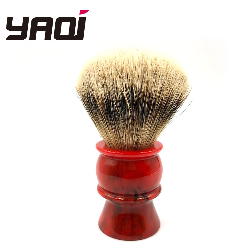 Yaqi 24MM 100% Silvertip Badger Hair Red Resin Handle Shaving Brushes For Men