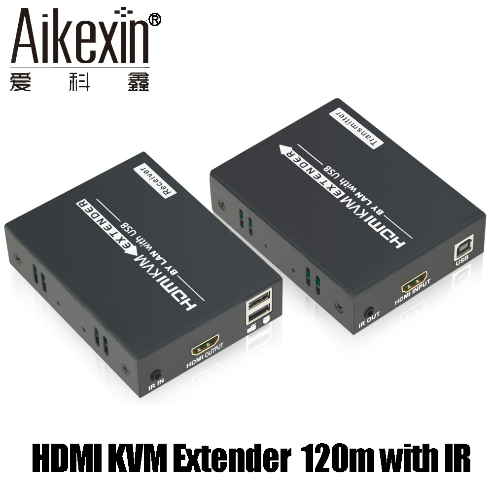 Aikexin HDMI KVM Extender 120m with IR Over Single Cat 5/6 LAN Ethernet Cable Support Keyboard Mouse KVM Extender 80 channels hdmi to dvb t modulator hdmi extender over coaxial