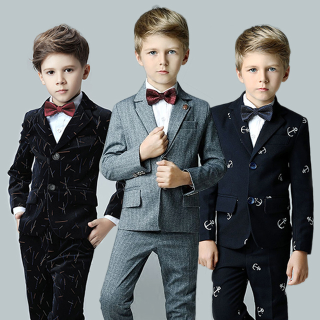 2018 spring kids children black white formal boys wedding tuxedo ...