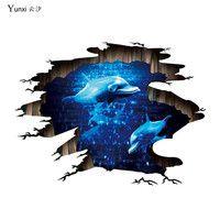 YunXi 3D Creative Blue Sea Animals Dolphin Stickers Bedroom Kids Room Background Decorative Pvc Waterproof Wall Stickers