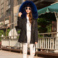 2017 new fashion woman luxurious Large raccoon fur collar hooded coat warm fur liner parkas long winter jacket top quality
