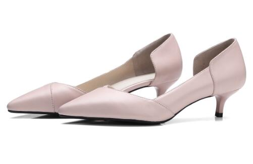 Basic pointed toe medium heel pumps for women Ladies pink/off white shallow thin heel shoes Female dress shoes Work shoes aercourm a 2018 new women genuine leather shoes ladies white pink dress solid shoes thin heel women pointed head pumps fde1121