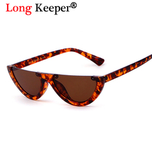 Long Keeper 2018 Stylish Hot Sale Unisex Half Rimless Sunglasses Small Cat Eye Eyewears Women Brand Designer Eyewears Men oculos