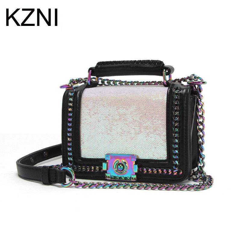 KZNI Genuine Leather Top-handle Bags for Girls Cross Shoulder Bags Female Designer Handbags High Quality Bolsa Feminina 007