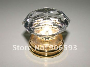 10PCS/LOT FREE SHIPPING 35MM CLEAR CRYSTAL KNOBS ON A GOLD BRASS BASE