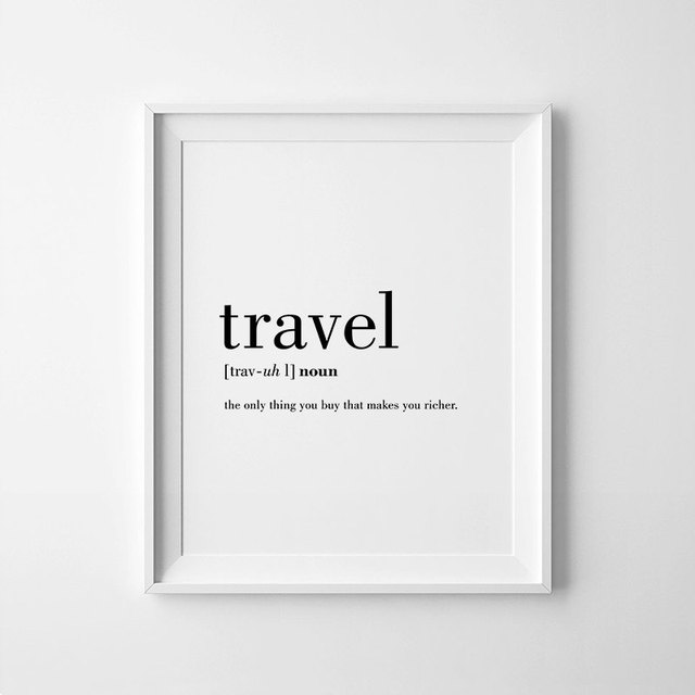 home decor travel canvas painting minimalist black white word poster