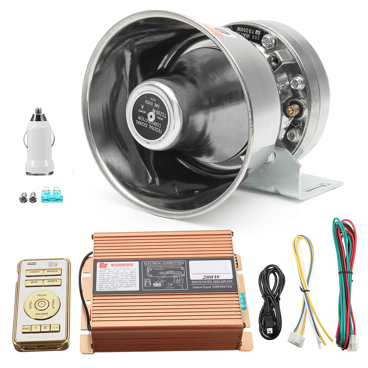 200W Car 8 Sound Loud Warning Alarm Police Fire Siren Horn Speaker MIC SystemKit