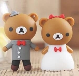 usb stick Best quality Cartoon Couple teddy bear 2GB-64GB USB 2.0 Flash Memory Stick Drive Thum/Car/Pen U Disk Festival S255