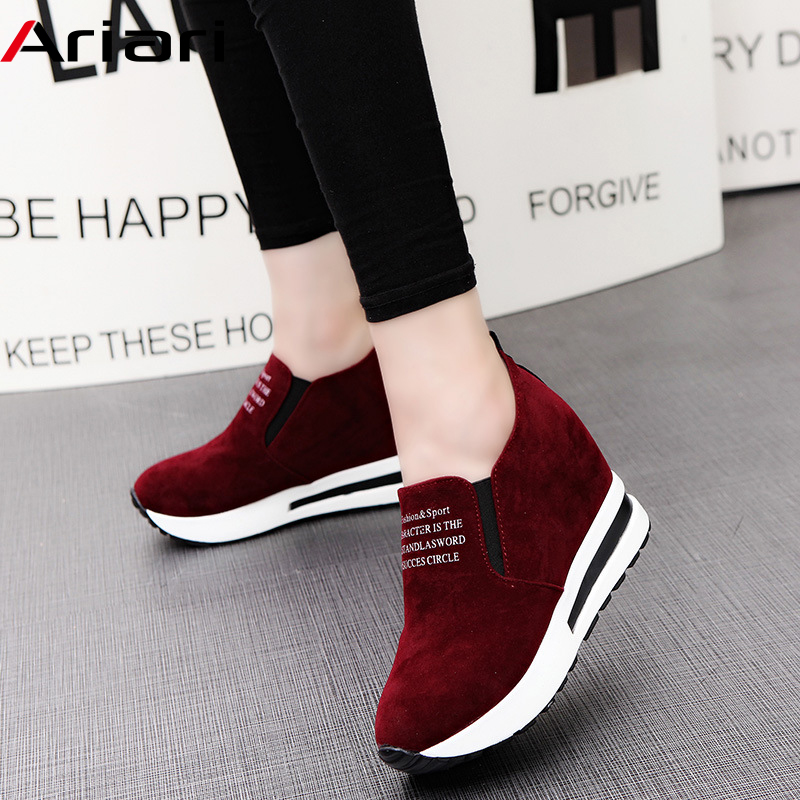 2019 Flock High Heel Lady Casual Shoes Wedges Women Sneakers Leisure Platform Shoes Breathable Increasing Slip on Footwear-in Women's Pumps from Shoes